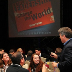 Leadership speaker Steve Farber and the audience
